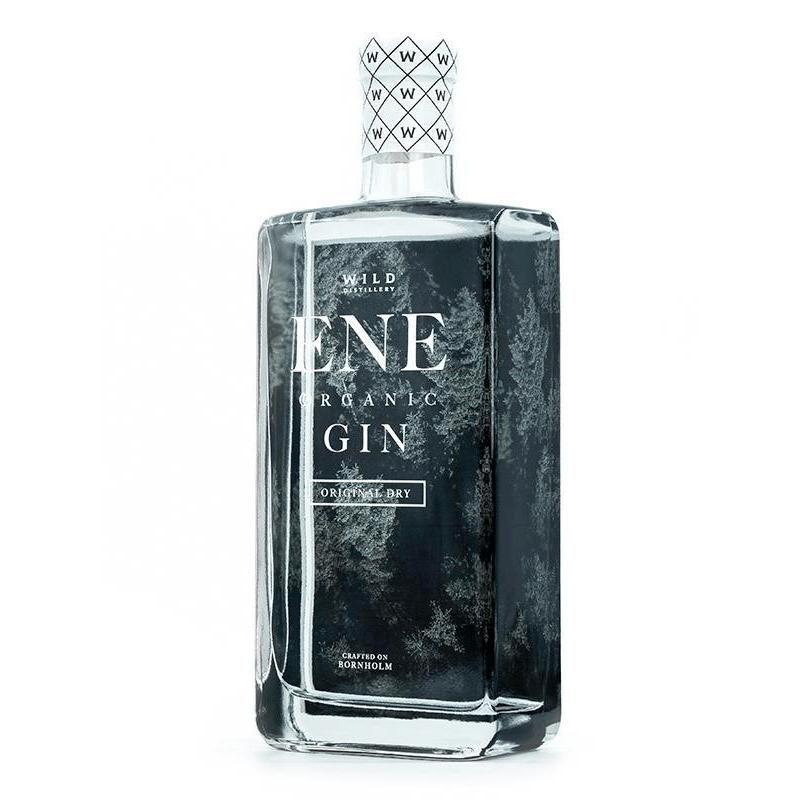 en flaska med ENE Organic Original Dry gin